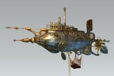 steampunk steam dieselpunk submarine 3d max