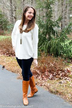 Winter white tunic sweater and riding boots.  Wearable winter fashion ideas on Running in a Skirt!