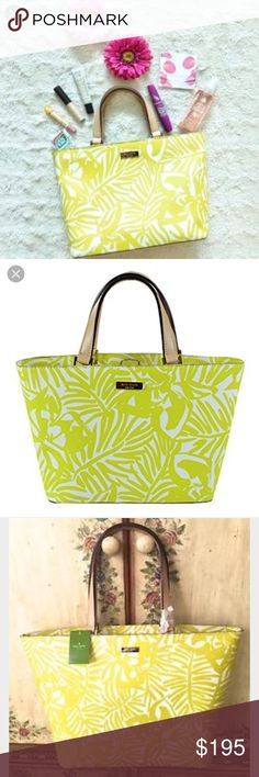 """🖤 S A L E 🖤Kate Spade Jules Grant Street Tote Kate Spade Jules Grant Street Grainy Vinyl Tote, lime green tropical palm leaf, beige leather handles, main zipper closure, zipper pocket inside, 2 side pockets, grainy vinyl material. Large size 18"""" x 11.5"""" x 6.5"""", 9"""" strap drop. Item is rare. New with tags, no dust bag.                             🐣n o • t r a d e s🐣                    s m o k e • f r e e • h o m e             s a m e/n e x t • d a y • s h i p p i n g kate spade Bags"""