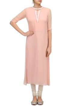 Pink three forth sleeves kurta available only at Pernia's Pop Up Shop. #happyshopping #shopnow #ppus