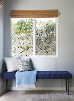Blue velvet bench-- I wonder if I could diy this...