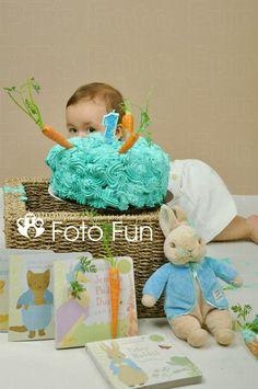 Smash of the cake. Peter Rabbit boy  cake destroyer