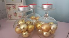 Christmas bauble candle holder. Up-cycled vintage brandy glass, tea light, table decoration, display, ornament, home decor, gift. - pinned by pin4etsy.com