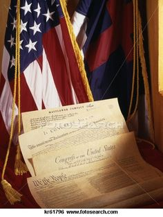 Images of America: American Flag, Christian Flag, Mayflower Compact, Declaration of Independence, Constitution, Bill of Rights.
