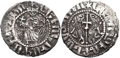 ARMENIA, Cilician Armenia. Royal. Leo I. (1150-1219). evon enthroned facing, holding cross and lis-tipped scepter; throne decorated with lions / Two lions rampant back-to-back, each with head reversed; between, long patriarchal cross; lower portion composed of cross crosslet; cross at beginning of legend.