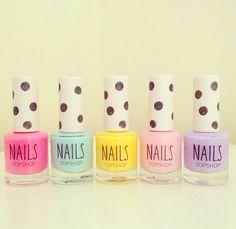 Nail polish: pink, light blue, yellow, light pink, light purple