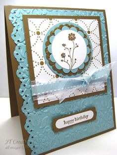 handmade birthday card ... layered medallion ... fancy ribbon,  embossed texture ... chocolate, vanilla and blue ...  sweet look ...