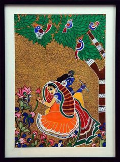 Radha Krishna, Painting by Swati Jain Indian Traditional Paintings, Modern Indian Art, Indian Folk Art, Indian Art Paintings, Oil Paintings, Landscape Paintings, Madhubani Art, Madhubani Painting, Kalamkari Painting