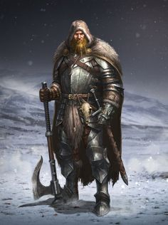 Man of the North by ARTOFJUSTAMAN Game of Thrones fighter barbarian soldier cape hooded cloak Norse Viking axe sword platemail armor clothes clothing fashion player character npc | Create your own roleplaying game material w/ RPG Bard: www.rpgbard.com | Writing inspiration for Dungeons and Dragons DND D&D Pathfinder PFRPG Warhammer 40k Star Wars Shadowrun Call of Cthulhu Lord of the Rings LoTR + d20 fantasy science fiction scifi horror design | Not Trusty Sword art: click artwork for source