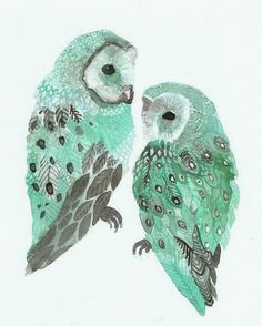 Reflection of the light blue moon on these owls