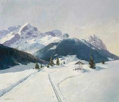 August Höllriegel (1880–-1971) - Bad Aibling. Wetterstein mountains in the winter