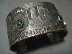 Huge And Heavy Domed Turquoise Navajo Monument Valley Silver Bracelet