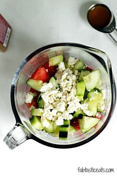 Watermelon, Cucumber, and Feta Salad | I'm really not sure why this sounds so good, cause these ingredients should not go together! haha