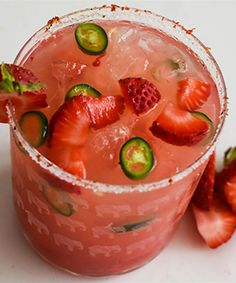 The Spicy Strawberry Margarita Recipe Summer Drinks, Fun Drinks, Spicy Drinks, Mixed Drinks, Beverages, Fun Cocktails, Party Drinks, Spicy Margarita Recipe, Margarita Drink