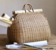 Handbag basket at Pottery barn -- inspiration to try something similar.