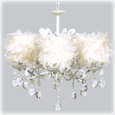 Angels Nest White Chandelier with Feather Shades from PoshTots