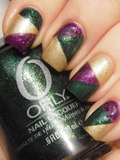 Mardi Gras- purple, green, and gold nails