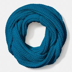 Coach Solid Chunky Infinity Scarf ($95) ❤ liked on Polyvore featuring accessories, scarves, blue, coach scarves, blue infinity scarves, cable knit infinity scarf, infinity loop scarves and loop scarves