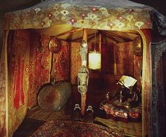BAROQUE TENT 17TH CENTURY   Interior of a Turkish tent, hung with rugs. Shields, chest,low table, stirrups.   Wawel Castle, Cracow, Poland
