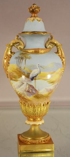 Royal Worcester Scenic vase with lid.