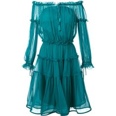 Alberta Ferretti off-the-shoulder midi dress ($1,473) ❤ liked on Polyvore featuring dresses, green, off-the-shoulder dress, blue dress, green off the shoulder dress, midi day dresses and blue midi dress