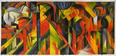 Stables - Franz Marc hand-painted oil painting reproduction,Abstract Vividly Colored Horses,living room modern expressionist painting art
