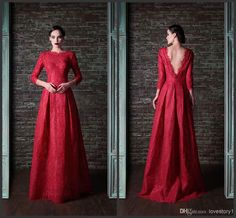 Wholesale Evening Dresses - Buy Wonderful Sparkling Crew 3/4 Long Sleeve A-Line Evening Dresses Beautiful Bedas Long Red Evening Gowns New Prom Dresses Pageant, $117.18 | DHgate