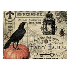 moderner Vintager Halloweenkürbis und -krähe Postkarte