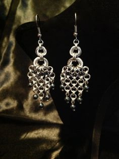 Handmade Chain Maille Swarovski Pearl Earrings by FreyaChainWorx, $25.00