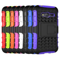 For Galaxy Ace 4 Hybrid Soft Rubber Silicone + Hard PC Shell Phone Case For Samsung Galaxy Ace 4 Shockproof Stent Cover
