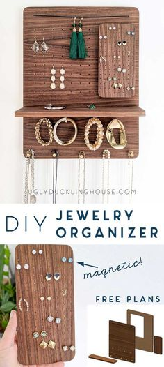 This DIY jewelry organizer packs a lot of value in a small space! Get the free plans and step by step instructions in a new tutorial and video It uses magnetic features, brass, and walnut - DIY Craft Ideas Diy Jewelry Rings, Diy Jewelry Unique, Diy Jewelry To Sell, Diy Jewelry Holder, Diy Jewelry Making, Diy Jewellery, Jewelry Crafts, Jewelry Stand, Body Jewelry