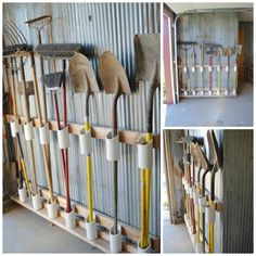 Use PVC pipe to organize your garden tools in the garage or garden shed. An inexpensive way to keep all your shovels, rakes and brooms in their place.