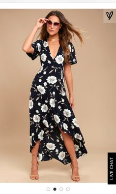 The Lake Como Navy Blue Floral Print High-Low Wrap Dress is fit for an Italian villa vacation! Lightweight woven floral print wrap dress with a high-low skirt. Casual Dresses, Summer Dresses, Wrap Dresses, Midi Dresses, Floral Dresses, Stylish Dresses, Robes Midi, Outfit Trends, Floral Print Maxi Dress