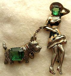 Green Crystal Lady Walking Scottish Terrier Pin
