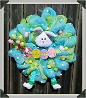 EASTER//SPRING/BUNNY//RABBIT//WREATH//HANDMADE//GREEN AND BLUE//29 INCH