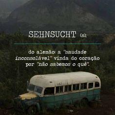 """SEHNSUCHT (s.); do alemão: a """"saudade inconsolável"""" vinda do coração por """"não sabemos o quê""""."""