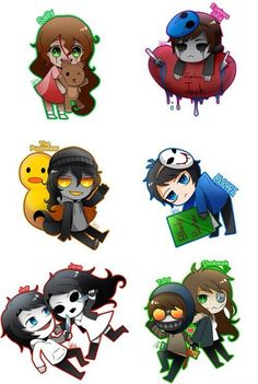 Sally, Eyeless Jack, The Puppeteer, Bloody Painter, Jeff and Jane, Toby and Clockwork