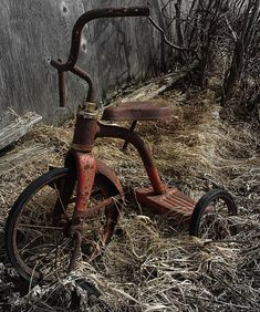 old rusty tricycle Abandoned Buildings, Abandoned Houses, Abandoned Places, Old Houses, Tricycle, Pompe A Essence, Retro, Rust Never Sleeps, Rusty Metal