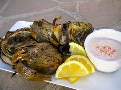 Grilled Artichoke w/ Spicy Lemon Sauce