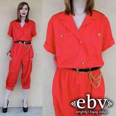 #Vintage #80s Red Oscar de la Renta #Jumpsuit S M L by #shopEBV http://etsy.me/15yAZlm via @Etsy #etsy #fashion #style #sailor #nautical, $122.00