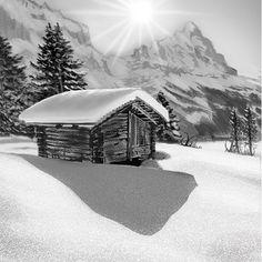 ArtStation - Burningraph * Switzerland, Mount Everest, Cabin, Mountains, House Styles, Artwork, Nature, Travel, Outdoor