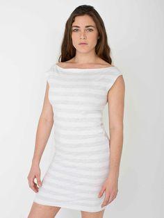【ファインジャージーストライプTシャツドレス】縫い目のない切りっぱなしのTシャツドレス、ストライプバージョン…