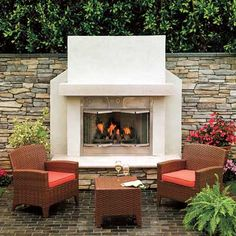 Cut the evening chill and add a flickering glow to your surroundings with a low-profile gas fireplace; no chimney needed. Outdoors, vent-free units have no Btu restrictions or oxygen-depletion sensors. Similar to shown: Al Fresco 36-inch vent-free fireplace, 60,000-Btu output (maximum), $2,278; optional bifold glass doors, $324; Majestic Products