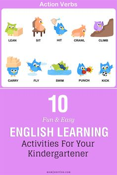10 Fun & Easy English Learning Activities For Your Kindergartener :here to offer you a list of ten fun English learning activities that help your little learner master the language in a fun way. English Games For Kids, Teach English To Kids, Kids English, English Activities, Teaching English, Learn English, English Time, English Class, English Lessons
