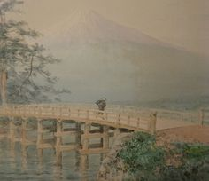 Japanese Painting of a Bridge and Mt. Fuj
