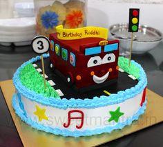 Wheels on the Bus theme cake - Cake by Sweet Mantra - Custom/Theme Cake Studio