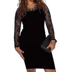 Sexy Scoop Neck Long Sleeve Spliced Women's Dress