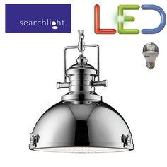 SEARCHLIGHT 2297CC LED 5.9W LIGHT INDUSTRIAL PENDANT CHROME CLEAR ACRYLIC LENSE