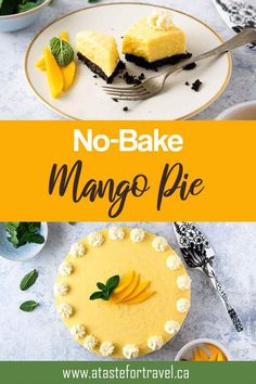 This delicious No-Bake Mango Pie is very easy to make and pairs a velvety mango mousse on a decadent chocolate crust. It's an impressive summer dessert that takes just minutes to put together! #dessert #fruit Mango Recipes, Tart Recipes, Sweets Recipes, Fruit Recipes, No Bake Desserts, Easy Desserts, Delicious Desserts, Yummy Food, Easy Mango Pie Recipe