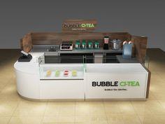Wooden laminate bubble tea kiosk design for juice Juice Bar Design, Food Cart Design, Mall Kiosk, Kiosk Store, Kiosk Design, Bubble Tea Shop, Food Kiosk, Small Cafe Design, Tea Design